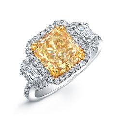 14k White and Yellow Gold Radiant Fancy Yellow Diamond Engagement Ring