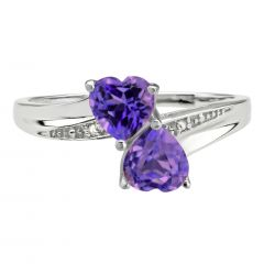 0.40 Heart Shaped Amethyst 925 Sterling Silver Ring with 0.01 Diamonds Size - 8
