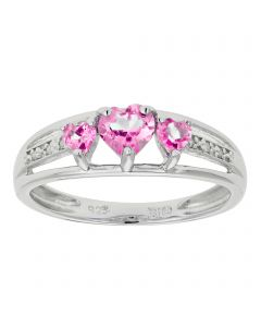0.65 Heart Shaped Created Pink Sapphire 925 Sterling Silver Ring with 0.70 Created Pink Sapphire Size - 7