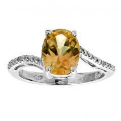 2.40 Oval Shaped Citrine 925 Sterling Silver Ring with 0.01 Diamonds Size - 8