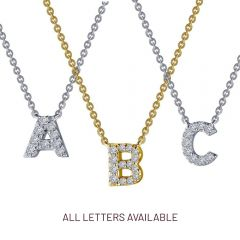 Diamond Initial Necklace in Sterling Silver - Choose Color/Letter
