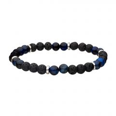 Lava and Tiger Eye Blue Beads Bracelet