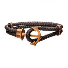 Brown Leather with Cappuccino Plated Anchor Bracelet