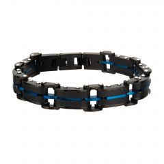 Black Carbon Fiber and Blue Plated ID Link Bracelet