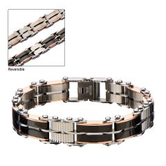Black & Rose Gold Plated Reversible Bracelet