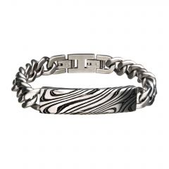 Damascus Steel Black Plated ID with Steel Curb Chain Bracelet