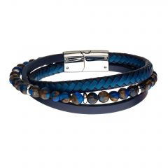 Blue & Brown Beads with Blue Leather Layered Bracelet