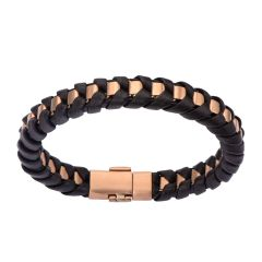 Rose Gold Plated Matte Finished with Black Leather Thread Bracelet
