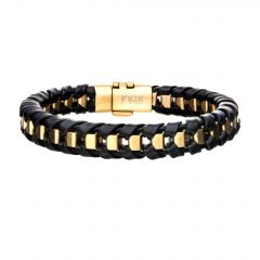 Black Leather with Gold Plated Bracelet