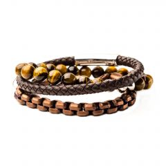 Tiger Eye Bead, Rose Gold Plated Chain and Brown Leather Stackable Bracelets