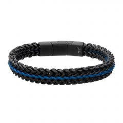 Allegiance Stainless Steel Bracelets with Blue Wax Cord binding 2 Black Antique Brushed Foxtail Links