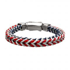 Stainless Steel American Flag Matte with Blue and Red Leather Bracelet