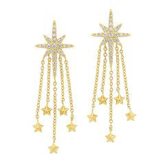 14K Yellow Gold Star Diamond Earrings 1/4ctw