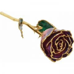 Frank Jewelers Lacquered Purple & Pink Rose with Gold Trim
