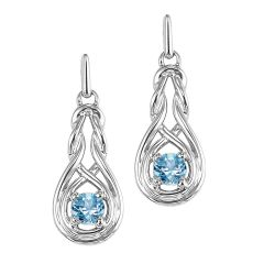 Silver Blue Topaz Earrings (Available In all BirthStones)