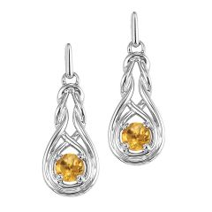 Silver Citrine Earrings (Available In all BirthStones)