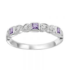 10K Amethyst & Diamond Mixable Ring FR1208