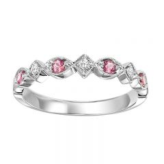 10K Pink Tourmaline & Diamond Mixable Rings FR1211