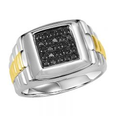 Silver Black Diamond Men's Ring 1/4 ctw