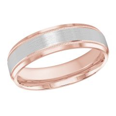 MALO 10K Pink/White Gold Wedding Band FT-413-6PW-01