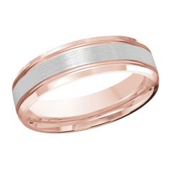 MALO 10K Pink/White Gold Wedding Band FT-520-6PW-01