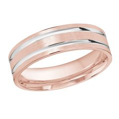 MALO 10K Pink/White Gold Wedding Band FT-986-6PW-01