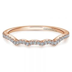 Wedding Band 14k Pink Gold Diamond Curved