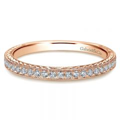 Wedding Band 14k Pink Gold Diamond Straight