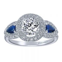 Engagement Ring 14k White Gold Diamond And Sapphire 3 Stones Halo