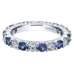 Anniversary Band 14k White Gold Diamond And Sapphire Eternity