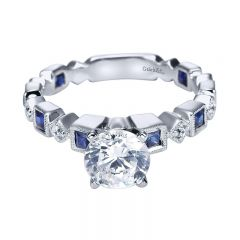 Engagement Ring 14k White Gold Diamond And Sapphire Straight