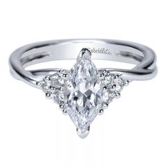 Engagement Ring 14k White Gold Diamond Criss Cross