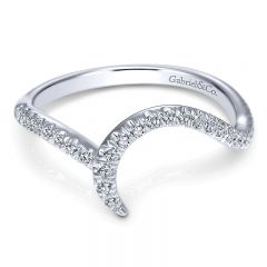 Wedding Band 14k White Gold Diamond Curved