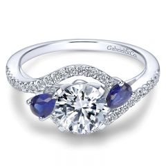 14K White Gold Diamond Pave ANd SApphire Bypass 14K White Gold Engagement Ring ER5331W44SA