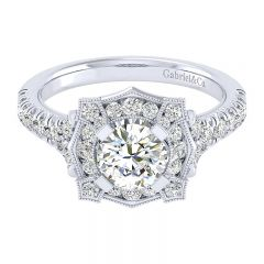 Engagement Ring 14k White Gold Diamond Perfect Match