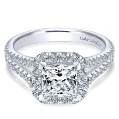 14K White Gold Diamond Princess Cut Halo With Pave Split Shank 14K White Gold Engagement Ring ER7262