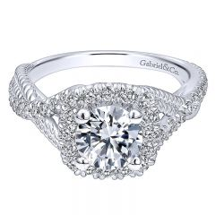 14K White Gold Diamond Riata ANd Pave Twist Halo 14K White Gold Engagement Ring ER10060W44Jj