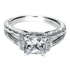 Engagement Ring 14k White Gold Diamond Straight