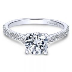 14K White Gold Diamond Straight Pave With Cathedral Setting 14K White Gold Engagement Ring ER7224W44