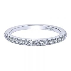 Wedding Band 14k White Gold Contemporary Straight