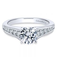 14K White Gold Graduating Pave Diamond With Cathedral Setting 14K White Gold Engagement Ring ER6664W