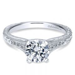 14K White Gold Straight Channel ANd Hand Cutetching Diamond 14K White Gold Engagement Ring ER10276W4