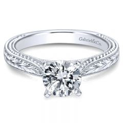 14K White Gold Straight Hand Cut Etching With Cathedral Setting 14K White Gold Engagement Ring ER663