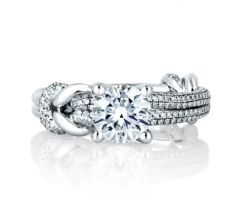 DIAMOND STUDDED KNOT ENGAGEMENT RING