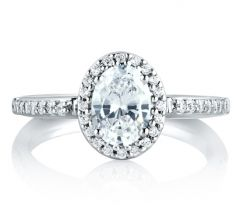 Oval Disc Shank Halo Engagement Ring