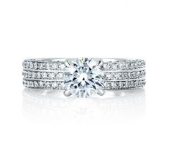 Three Row Shared Prong Engagement Ring