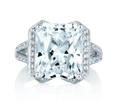 RADIANT CUT HALO SET ENGAGEMENT RING