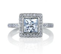 ARCHITECTURAL THREE LEVEL INSPIRED PRINCESS ENGAGEMENT RING