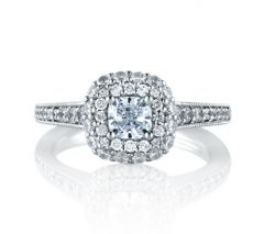 Double Row Halo Cushion Cut Engagement Ring