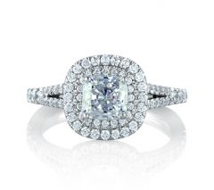 Classic Double Halo Cushion Engagement Ring